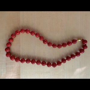 Cinnabar Carved Bead Necklace